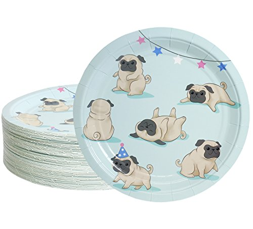 Blue Dog Plate - Disposable Plates - 80-Count Paper Plates, Dog Party Supplies for Appetizer, Lunch, Dinner, and Dessert, Kids Birthdays, Pugs Design, 9 inches in Diameter