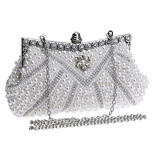Ladies Dinner Bag GROSSARTIG Pearl Creamy Hand Bag Bag Banquet Dress white Evening FSZaq