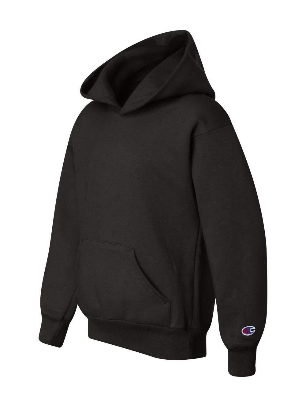 Champion Boys Boys' Big' Powerblend Eco Fleece Pullover Hoodie, Black, XL