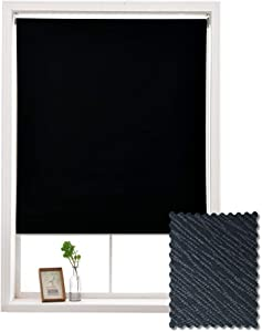 ALLBRIGHT Blackout Window Roller Shades, Striped Jacquard Thermal Insulated and UV Protection Black Blackout Blinds, Easy Installation for Home and Office (35 x 72 inches, Simplicity Black)