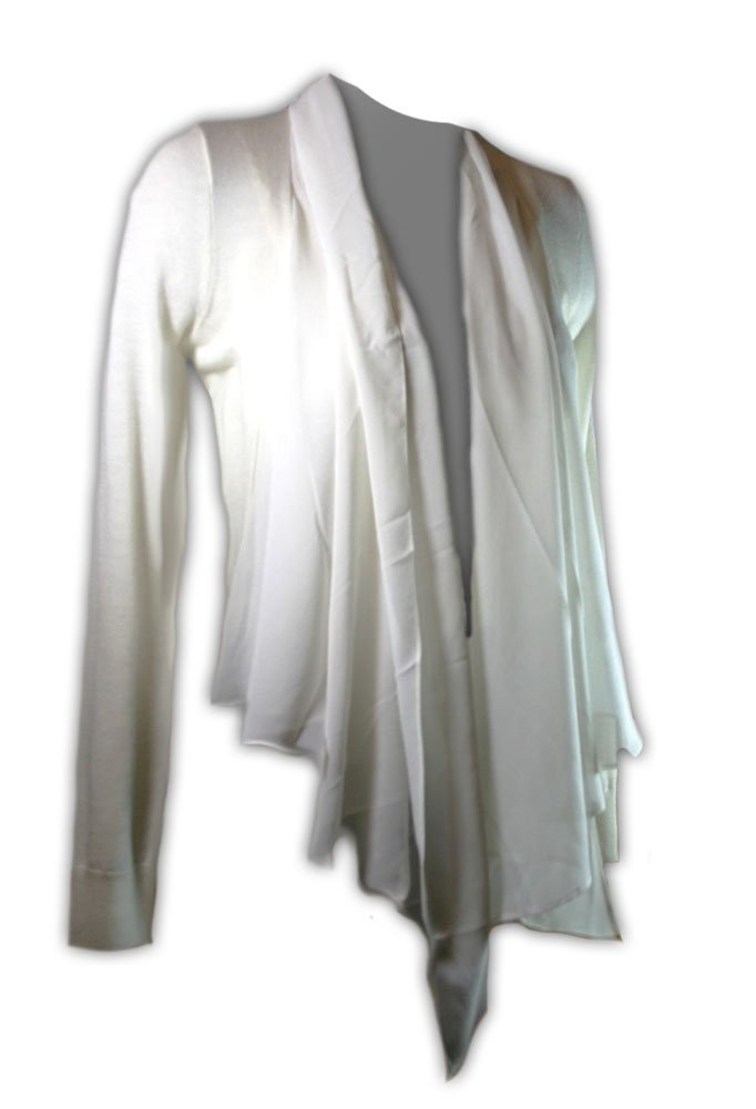 Antonio Melani Women's Silk Drape Knit Cardigan Shrug Sweater Ivory White (XS)