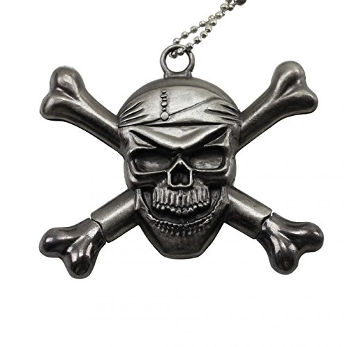 Silver Skull and Cross Bones Necklace Knife with Two Hidden -