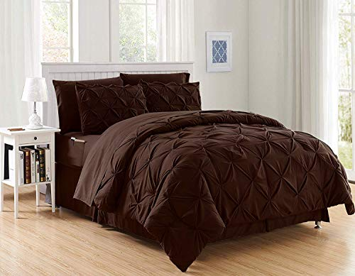 Decotex 8 Piece Luxury Juliet Pintuck Style Bed in a Bag Comforter Bedding Set with Sheets (King, Chocolate)