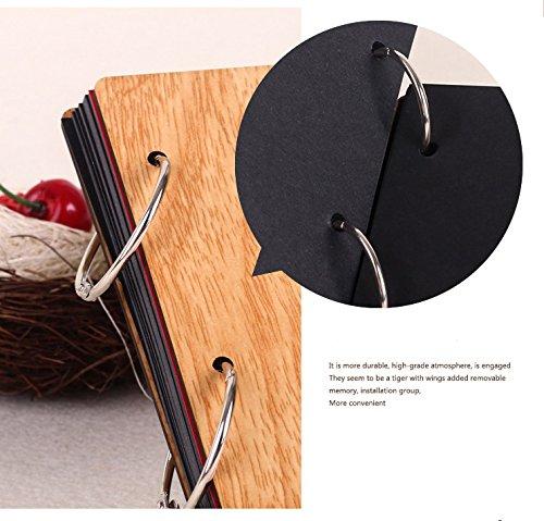 11 x 8 inch DIY Wood Cover Photo Album Self Adhensive Black Cards Scrapbook Album,30 Sheets (Full Love) by Green fox (Image #4)