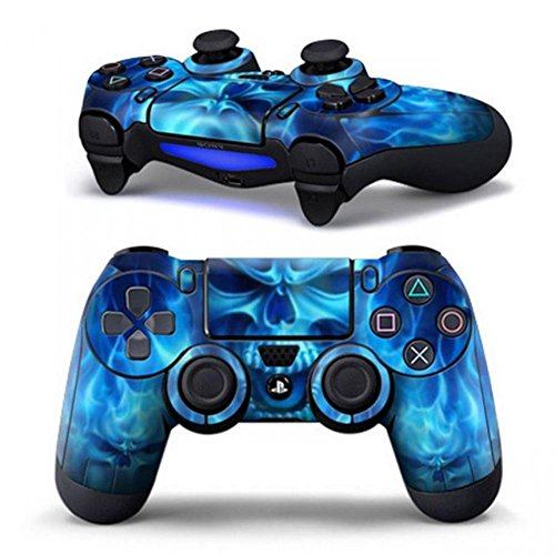Price comparison product image Skin Cover Case Protection Skin For Sony Playstation 4 Ps4 Dualshock 4 Controller Blue Fire Logo Game Accessories