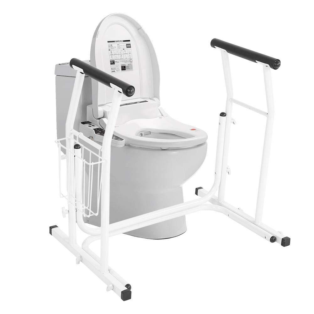 高齢者&身体障害者用の安全で滑り止めの浴室用トイレの安全手すり補助装置のための自立型トイレフレームバスルームサポート用の調節可能なトイレサラウンドフレーム   B07S7VZ193