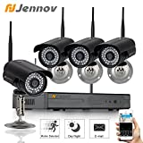 Jennov 4 Channel 720P Wireless Security IP Camera System Outdoor Night Vision Wifi 4CH Nvr Kit Support Smartphone PC Remote View For Home Business For Sale