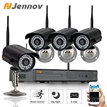 Jennov 4 Channel 720P Wireless Security IP Camera System Outdoor Night Vision Wifi 4CH Nvr Kit Support Smartphone PC Remote View For Home Business