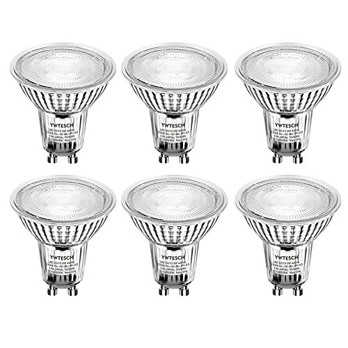GU10 LED Bulbs, YWTESCH Equal to 50W Halogen Bulbs, 5W, 420 lumen, 2700K Warm White, 40° Beam Angle, CRI 80+,Non-Dimmable LED Light Bulbs - 6 Pack (Halogen Plug)