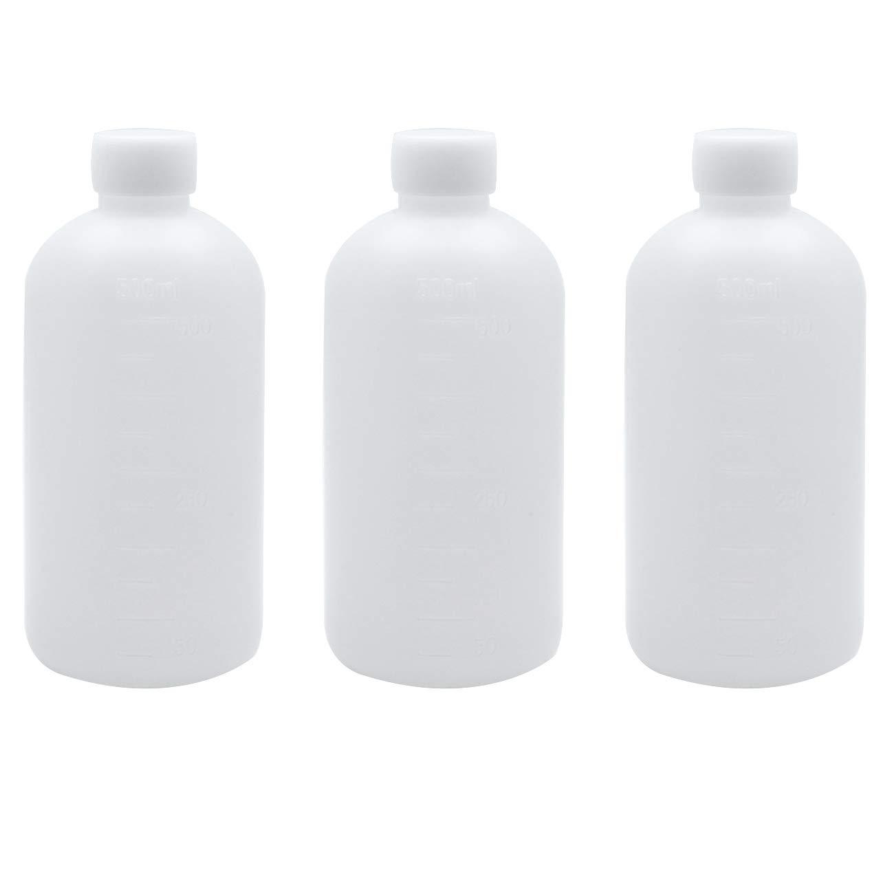 Sscon 3pcs 500ml Plastic Small Mouth Graduated Lab Reagent Bottle Sample Sealing Bottle