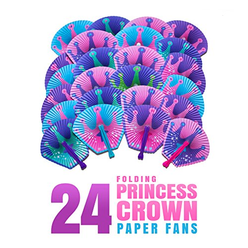 M & M Products Online Princess Party Supplies: 24 Folding Princess Crown Paper Fans - Variety Of Colors & Designs - Perfect For Princess Birthday Dress Up Parties & Favors (Princess Themed Birthday Party)