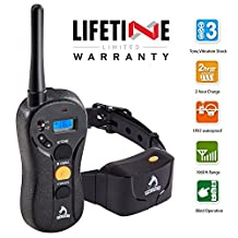 PATPET Dog Training Collar - Rechargeable & Waterproof - 1960ft Blind Operation Remote Controlled Collar with Tone / Vibration / Shock Mode, Easy to train - All Size Dogs