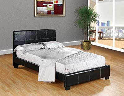 Black Home Life Leather Platform Bed with Slats - Complete Bed 5 Year Warranty Included