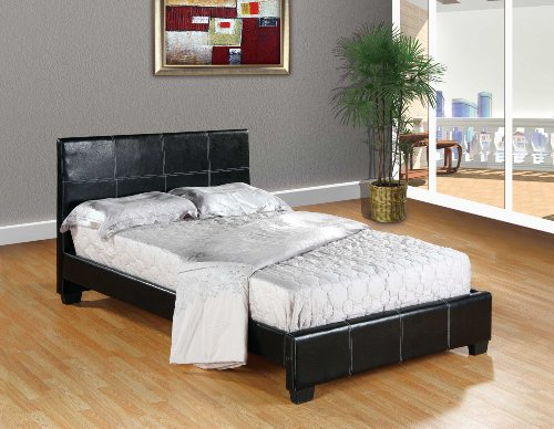 Black Home Life Leather Platform Bed with Slats Queen - Complete Bed 5 Year Warranty - Leather Queen Bed Complete