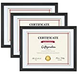 8.5x11 Picture Frames Certificate Document Diploma Frame with Mat, Wall Mounting, Black, 3 Pack