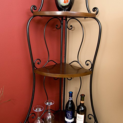 Wrought Iron Corner Bakers Rack With Wood Shelves