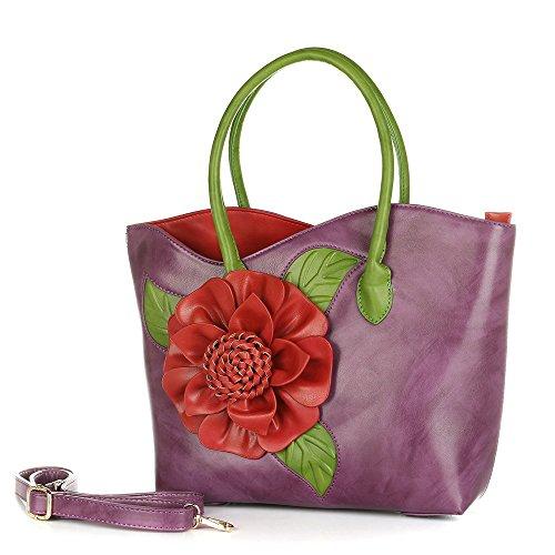 Handbag Purple Bag PU Purse Leather Tote Women Seris By Flower 3D Vanillachocolate PFwdnqf