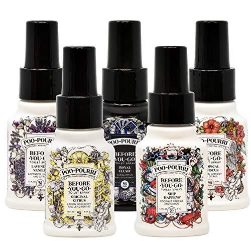 Poo-Pourri Set - Includes Original Citrus, Lavender Vanilla, Tropical Hibiscus, Ship Happens, and Royal Flush 1.4 Ounce Bottles