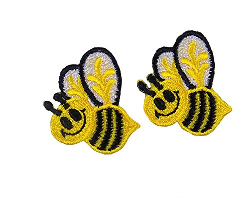 Bumble Embroidered Bee (Yellow and Black Bumble Bees Embroidered Iron On Appliques)
