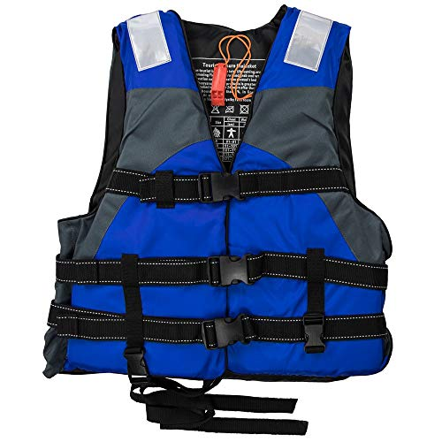 (GSE Games & Sports Expert Adult Adjustable Life Vest with Hi-Visibility Reflective Panels (4 Colors Available) (Blue))