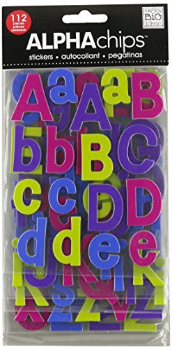 me & my BIG ideas Alpha Chips Designer Chipboard Letter Stickers, Bailey Alphabet Jewel Foil ()