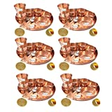 Set of 6 Prisha India Craft Indian Dinnerware Pure Copper Thali Set Dia 12'' Traditional Dinner Set of Plate, Bowl, Spoons, Glass with Napkin ring and Coaster - Christmas Gift