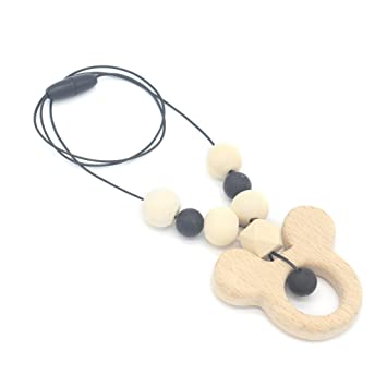 Baby Beißring Halskette Holzanhänger Holzperlen Kinderkrankheiten Pflege