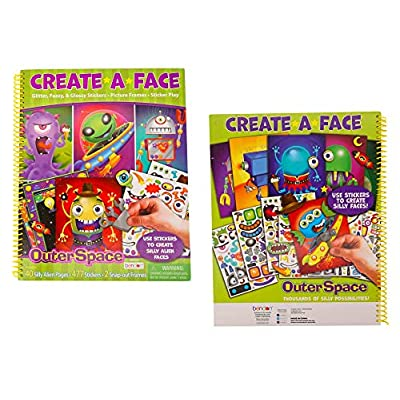 Create-A-Face Book (Outer Space) Spiral Bound Sticker Face Creative Arts Crafts Activity Kids: Kitchen & Dining
