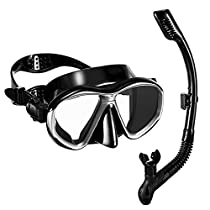 OMorc Full Dry Diving Snorkel Set with Anti-Fog and Impact-Resistant Tempered Glass Lenses, Ergonomic Diving Mask with Dry Top Snorkel and Food-Grade Silicone Mouthpiece for Adults
