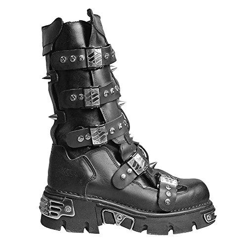 New Rock Style 134 Stiefel (Schwarz/Silber) Schwarz/Silber