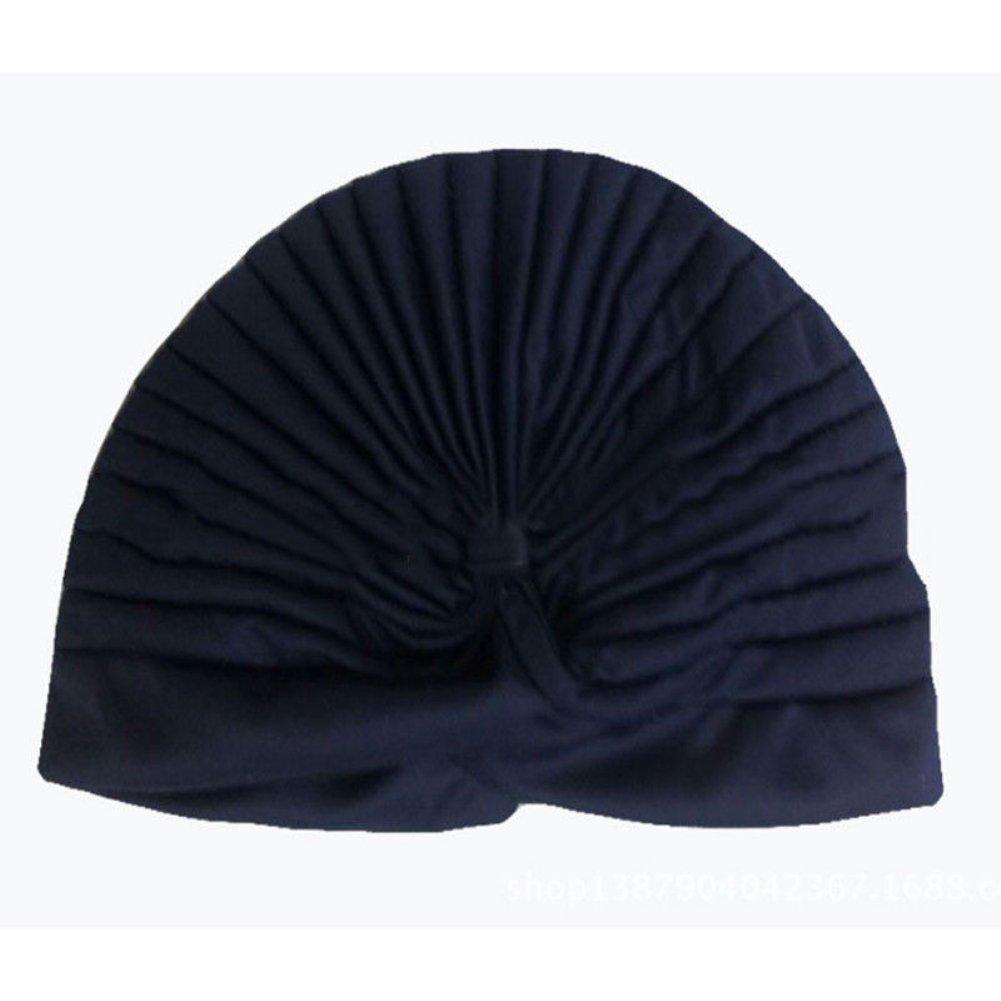 Quanjucheer–Berretto in cotone cappello con fiore colore solido turbante Hijab Baggy bagno Cap