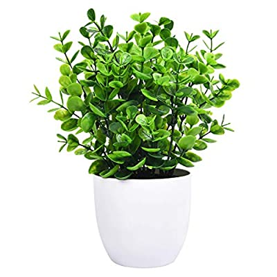 Sunm boutique Eucalyptus Potted Plant, Mini Artificial Plants with 9 Branches Eucalyptus Leaves in Pots, Green Faux Potted Plants for Office Table Bathroom Greenery Room Home Decor