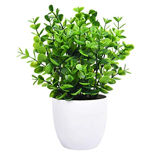 - Sunm boutique Eucalyptus Potted Plant, Mini Artificial Plants with 9 Branches Eucalyptus Leaves in Pots, Green Faux Potted Plants for Office Table Bathroom Greenery Room Home Decor