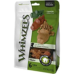 Paragon Whimzees Alligator Treat Dental Treat for Large Dogs, 6 Per Bag