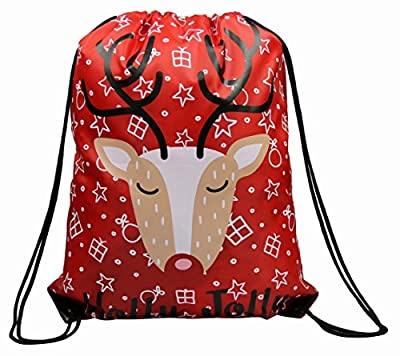 Christmas Drawstring Bags 5 Pack, Santa Sack Backpack for Party Favors Gifts and Candy
