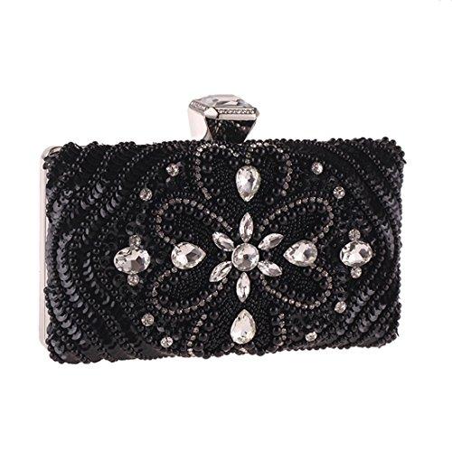 à de bandoulière Diamants Femme de Black Sac Color pour perlée Pochette Sac KERVINZHANG soirée Black incrusté w8qpU