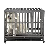 SMONTER 38' Heavy Duty Strong Metal Dog Cage Pet Kennel Crate Playpen with Wheels, I Shape, Dark Silver