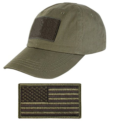 Military Cap Hat Olive (Tactical Military OD Olive Drab Green Sport Team Hat Cap + USA Flag)