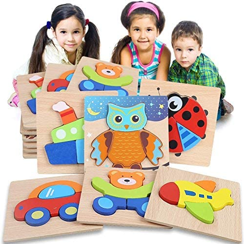 Shindel Wooden Jigsaw Puzzles for Toddlers 1 2 3 Years Old Boys Girls Infant Kid Learning Educational 6PCS Puzzles Toys