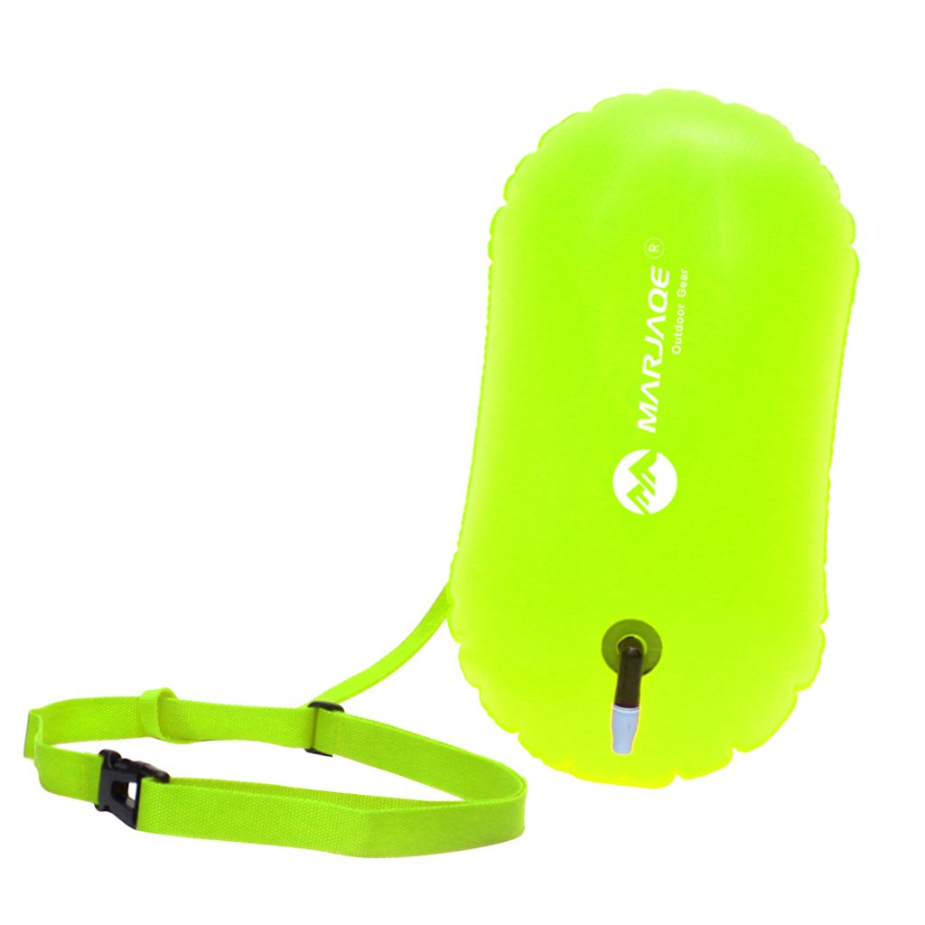 Baosity Waterproof PVC Swim Buoy Tow Float Air Bag Inflatable Swimming Bag with Waist Belt - Lightweight & Highly Visible - Fluo Yellow