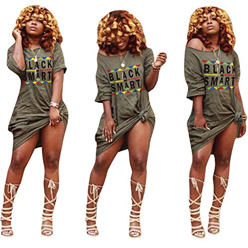 (Miiyana Womens Off Shoulder Letter Print T Shirt Dress Summer Short Sleeve Tunic Dress Army Green)