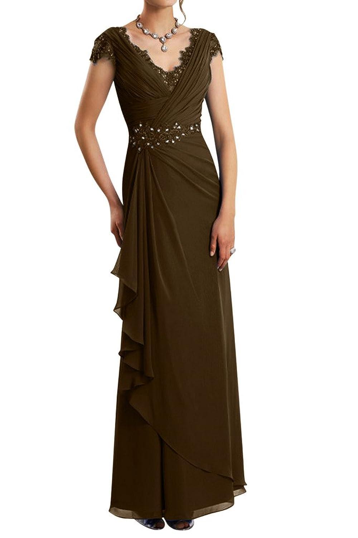 Gorgeous Bride Exquisite Chiffon Ruffles Evening Dress V-neck Wedding Party Gown