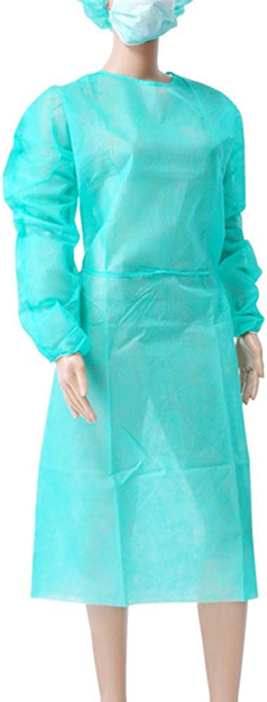 WOYIAZT 10pcs//lot Non-Woven Security Protection Suit Disposable Isolation Gown Green