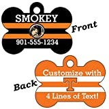 Tennessee Volunteers Double Sided Pet Id Dog Tag Personalized With 4 Lines of Text