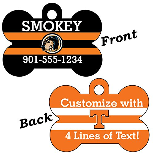 Tennessee Volunteers Double Sided Pet Id Dog Tag Personalized With 4 Lines of Text by uDesignUSA