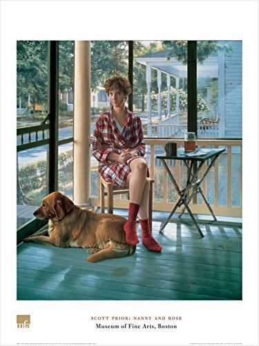 Buyartforless Nanny and Rose by Scott Prior 32x24 Art Print Poster Famous Painting Still Life Figurative Woman and Dog Morning Coffee