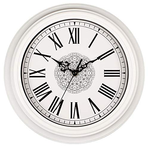 - Tebery 12-Inch European Antique Style Clock Non Ticking Decorative Wall Clock Battery Operated