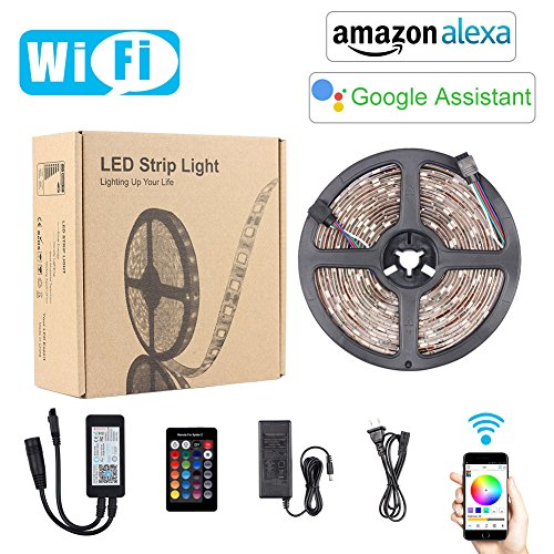 Smart Wifi LED Strip, FICBOX Waterproof 5M/16.4FT 5050 SMD RGB LED Rope Light Works with Alexa Support Timer Voice/Music Control DC12V