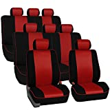 FH GROUP FH-FB063128 Three Row Cloth Car Seat Covers with Piping Airbag & Split Ready Red / Black