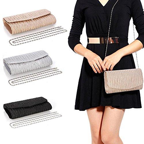 Bag Bag Shoulder Clutch Woman Satin Clutch Silver Pleated Glitter Evening iShine Mini qfTtwn1